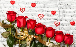 Picture flowers, roses, heart, valentine's day, roses
