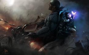 Picture fiction, danger, graphics, child, soldiers, machine, drawing, shootout, survival, cyber-punk