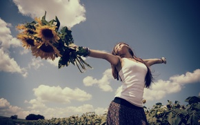 Picture field, the sky, leaves, girl, joy, flowers, background, relax, widescreen, Wallpaper, mood, sunflower, hands, relax, …