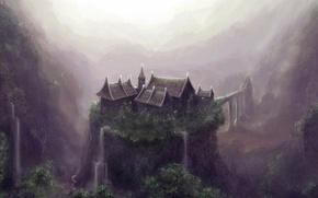 Wallpaper house, open, waterfall, Figure