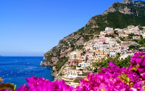 Picture flowers, nature, the city, rocks, coast, home, Italy, Italy, Amalfi, Amalfi