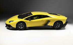 Picture auto, Lamborghini, side view, yellow, LP700-4, Aventador, 50 Anniversario Edition