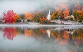 Picture autumn, fog, lake, Eaton, NH