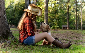 Picture grass, girl, sunset, tree, dog, hat, house, sitting