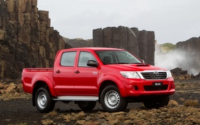 Picture Red, Nature, Mountains, Japan, Stones, Australia, Japan, Red, Toyota, Car, Pickup, Auto, Hilux, Wallpapers, Australia, …