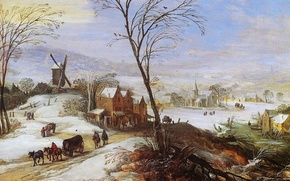 Picture picture, painting, painting, Joos de Momper, 1598, Winter Landscape with Mill