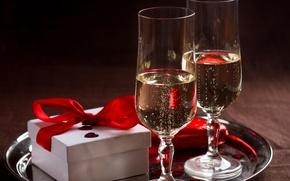 Wallpaper box, gift, romance, champagne, bow, gift, champagne