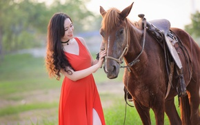 Picture summer, girl, smile, horse, horse, dress, Asian