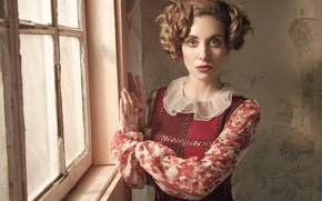 Wallpaper dress, window, photographer, VVV, is, Alison Brie, Alison Brie, hairstyle, Robert Ascroft, model, actress