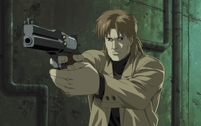 Picture pipe, gun, weapons, wall, male, revolver, Ghost in the shell, Ghost in the Shell, Togusa, …