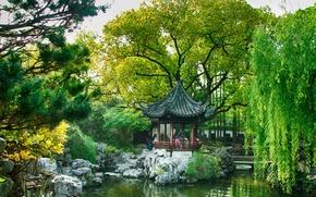 Picture trees, pond, Park, stones, garden, China, Shanghai, the bridge, gazebo