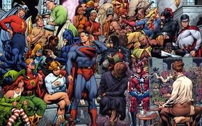 Wallpaper artist, comic, super heroes, dc comics, justice society of america, super heroes