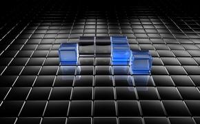 Picture glass, black, squares, blue