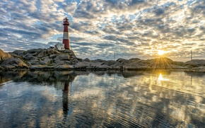 Picture sea, sunset, stones, lighthouse, Norway, Norway