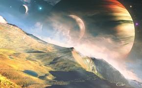 Picture space, landscape, mountains, planet, stars, QAuZ