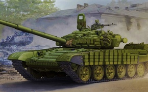 Picture war, art, painting, tank, T-72