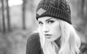 Picture girl, woman, model, bokeh, black and white, blonde, female, b/w, sweater, Amy Crilley, Glory, Honour …