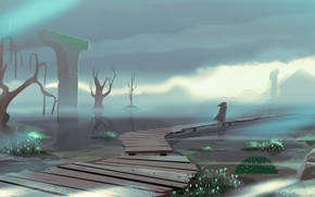 Picture fog, people, art, bridges, painted landscape