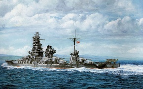 Picture ship, art, Navy, military, battleship, Japanese, battleship, WW2, Hyuga, IJN