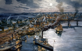 Picture bridge, the city, the ocean, home, ships, the evening, pier, art, artist, Navy, sailboats, painting, …