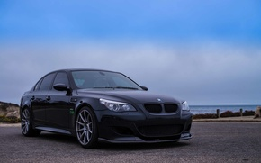 Picture the sky, clouds, the ocean, black, bmw, BMW, sedan, black, e60