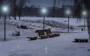 Picture winter, snow, Park, the evening, Lights, benches
