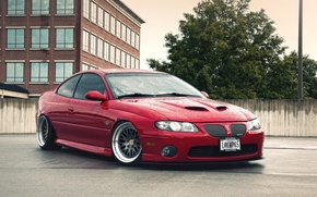 Picture red, tuning, stance, pontiac gto, Pontiac