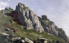 Picture The Picos de Europa, picture, rocks, mountains, landscape, Carlos de Haes, stones