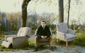Picture sky, trees, eyes, leaves, man, lips, shoes, branches, jacket, pants, armchairs