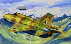 Picture art, painting, aviation, jet, MiG-21 Fishbed
