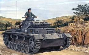 Picture figure, soldiers, the Wehrmacht, medium tank, Ron Volstad, Panzerkampfwagen Ill, Pz.kpfw. III ausf.F, Panzer 3, …