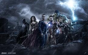 Picture the Avengers, justice League, superhero, thе avengers, justice leauge