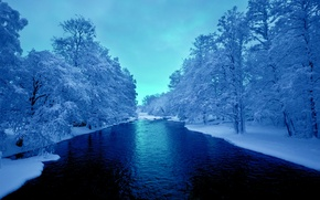 Wallpaper the sky, snow, trees, river, Winter