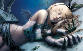 Picture sand, girl, bubbles, sleep, breath, rust, Art, under water