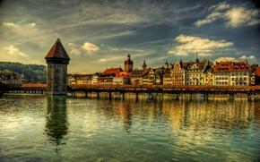Wallpaper river, tower, home, Switzerland, promenade, Luzern