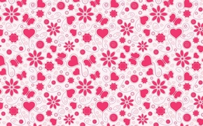 Picture flower, background, butterfly, heart, vector, texture, art