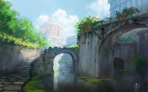Picture water, the city, art, ladder, arch, painting