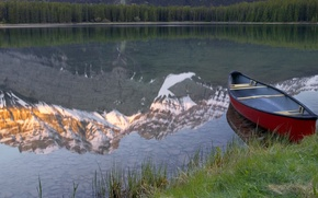 Picture mountains, lake, reflection, boat, Canada, Banff National Park, Alberta, Canada