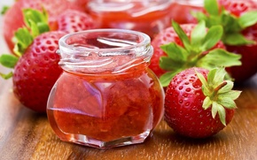 Picture food, strawberry, Bank, jam