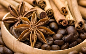 Picture coffee, grain, cinnamon, spices, star anise, Anis