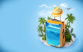 Picture sea, clouds, palm trees, creative, hat, dolphins, suitcase, the plane