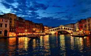 Picture clouds, lights, home, boats, the evening, Italy, channel, Venice, gondola