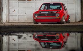 Picture Volkswagen, red, golf, front, stance, MK1