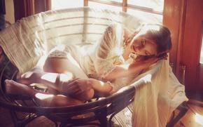 Picture girl, comfort, sleeping, sleeping, the light of the sun, sweet dream