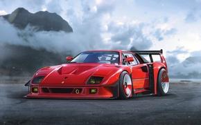 Picture Concept, Ferrari, Red, F40, Car, by Khyzyl Saleem