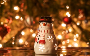 Picture winter, lights, tree, candle, spruce, New Year, Christmas, snowman, tree, garland, Christmas, holidays, candle holder, …