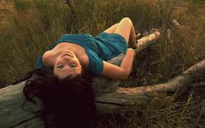 Picture field, grass, eyes, look, girl, dress, log