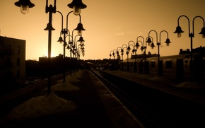 Picture road, Sunset, lights, iron