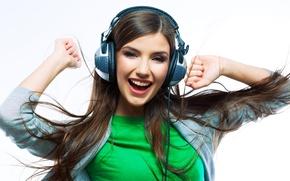 Picture look, girl, joy, music, headphones, delight