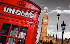 Picture England, London, phone booth, London, England, Big Ben, telephone